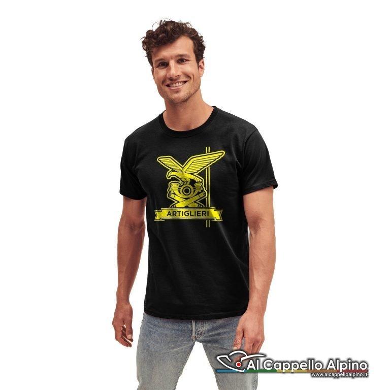 Amt0017 T Shirt Artiglieria Alpina Nero