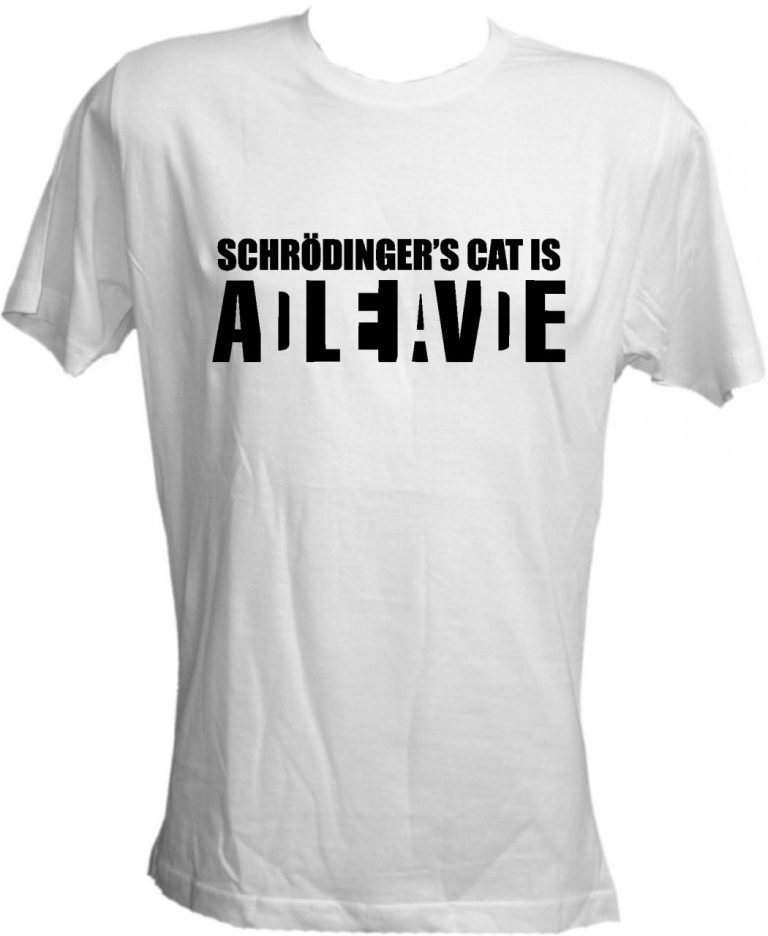 T-shirt Schrodinger's Cat bianca