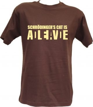 T-shirt Schrodinger's Cat cioccolato