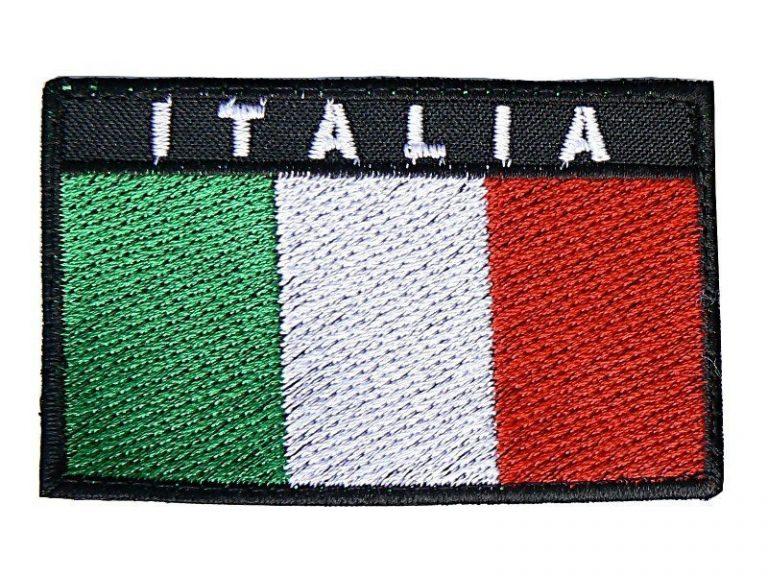 Toppa Italia rettangolare bordo nero