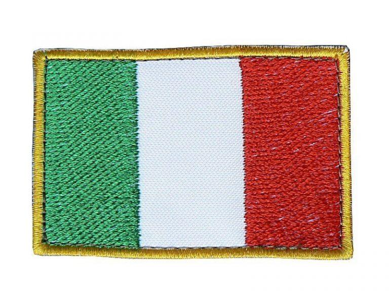 Toppa Italia rettangolare bordo giallo