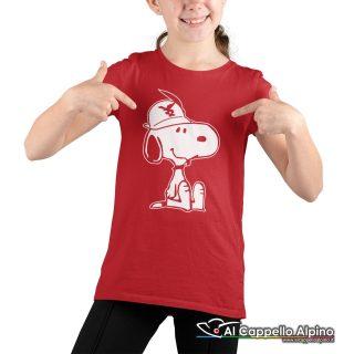 Amt9004 T Shirt Da Bimbo Con Snoopy Alpino Seduto Rosso 02
