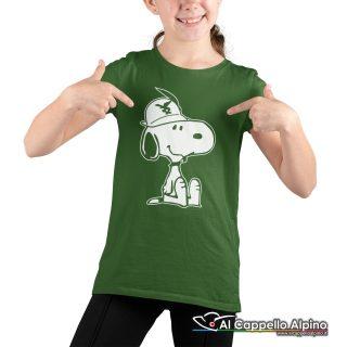 Amt9004 T Shirt Da Bimbo Con Snoopy Alpino Seduto Verde 02