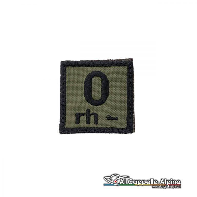 Tope0039 Patch Gruppo Sanguigno Esercito Italiano 0 Rh Negativo Od