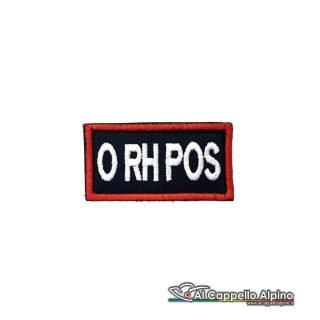 Tope0040 Patch Gruppo Sanguigno Carabinieri 0 Rh Positivo